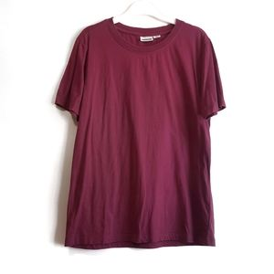 Noisy May Solid Comfortable Burgundy T-Shirt